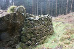Detail showing the large boulder incorporated into the wall